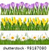 Fresh spring flower borders. Vector - stock vector