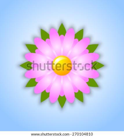 Fresh spring flower icon on light blue background - stock vector