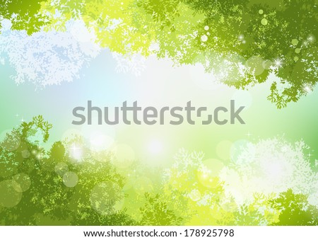 Fresh Spring Green background with soft sunlight. File contains Gradients, Transparent, Clipping mask, Gradient mesh. - stock vector