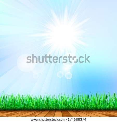 Fresh spring green grass with bokeh and sunlight and wood floor. Beauty natural background. Horizontally Seamless Green Grass Banner Against the blue sky  - stock vector