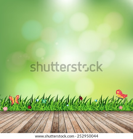 Fresh spring green grass with green bokeh and sunlight and wood floor, Vector illustration template design - stock vector