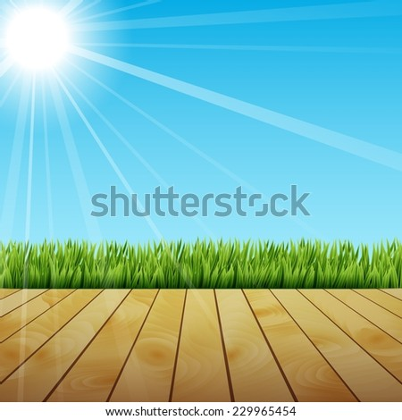 Fresh spring green grass with sunlight and wooden floor - stock vector