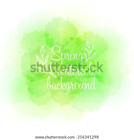 Fresh spring green watercolor background. Vector illustration  - stock vector