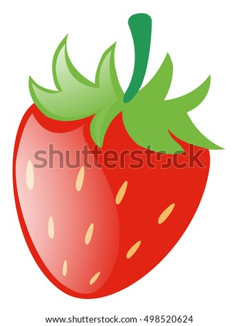 Fresh strawberry with green stem illustration