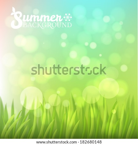Fresh summer bokeh background, vector - stock vector