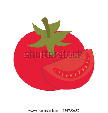 fresh tomato vegetable half cartoon, vector illustration