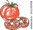 Fresh tomato with tomato slices - stock vector