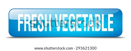fresh vegetable blue square 3d realistic isolated web button