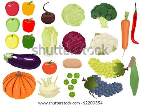 Fresh Vegetable, fruit (Icons) Set - stock vector