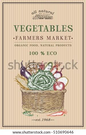 Fresh Vegetable Basket Vintage Poster Eco Stock Vector 510690646 ...