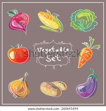 Fresh vegetables icons set. Vector illustration. Hand drawn food design. - stock vector