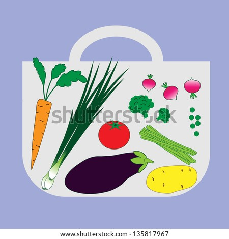 Fresh vegetables on background bags