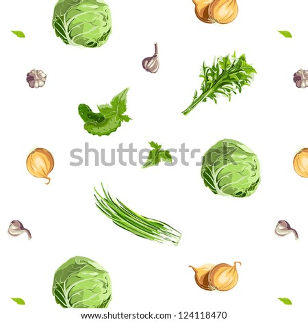 Fresh Vegetables Seamless Pattern. EPS8 illustration. Use any background color. No effects.