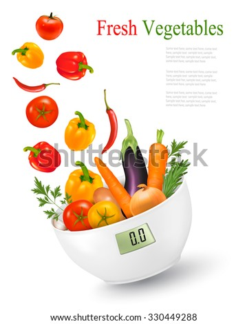Fresh vegetables with in a weight scale. Diet concept. Vector.  - stock vector