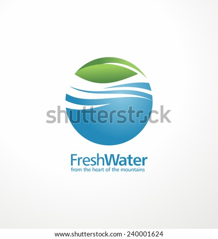 Fresh water and leaf creative logo design template. Abstract aqua sign concept. Corporate nature and landscape icon illustration. Mineral natural water branding idea. - stock vector
