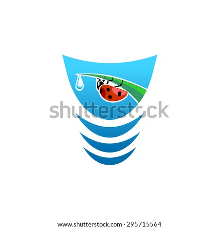 Fresh water logo concept with ladybug on a grass leaf tip - stock vector