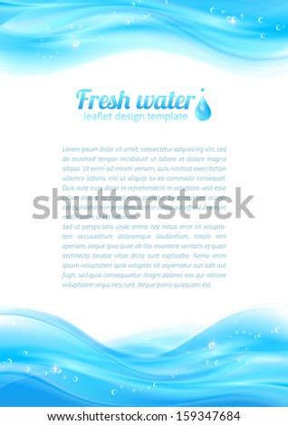 Fresh water vector leaflet template for your business presentation - stock vector