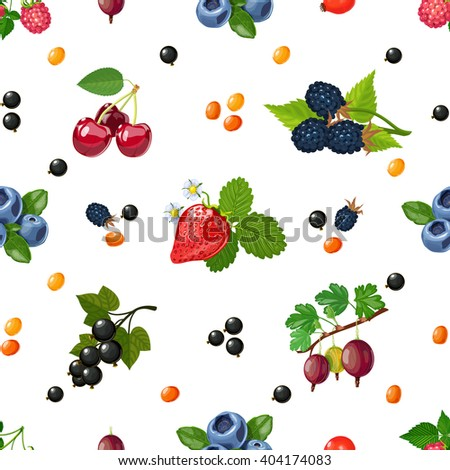 Fresh wild and garden berries mix colorful pattern for textile placemats and wrapping paper abstract vector illustration