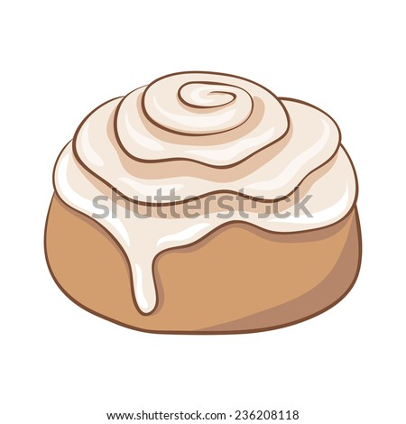 Freshly baked cinnamon roll with sweet frosting. Vector ...