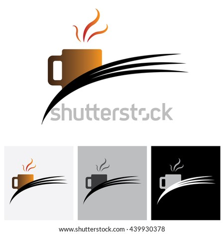 Freshly brewed coffee in a cafe or cafeteria - vector logo graphic. The illustration shows coffee cup icon or symbol and flowing aroma or flavors from it. - stock vector