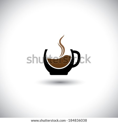 freshly brewed coffee in a porcelain mug - abstract vector graphic. This illustration also represents cappuccino, expresso,  decoction, java, mocha, cafe-noir, caffeine, cafe - stock vector