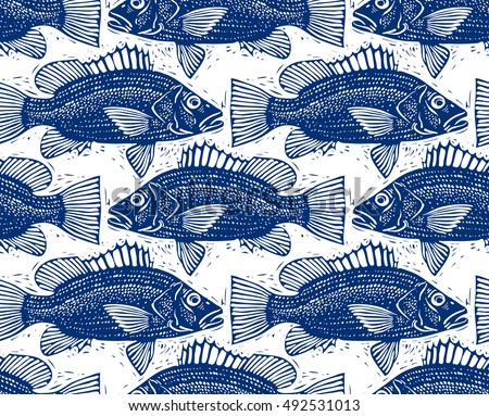 Freshwater vector fish endless pattern, nature and marine theme seamless tiling. Seafood wallpaper, zoology idea background.