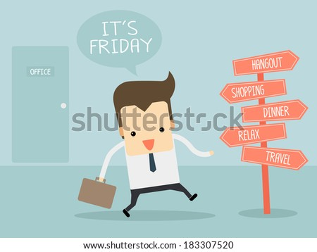friday after work - stock vector