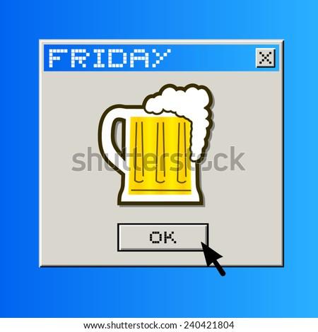 Friday beer message - stock vector