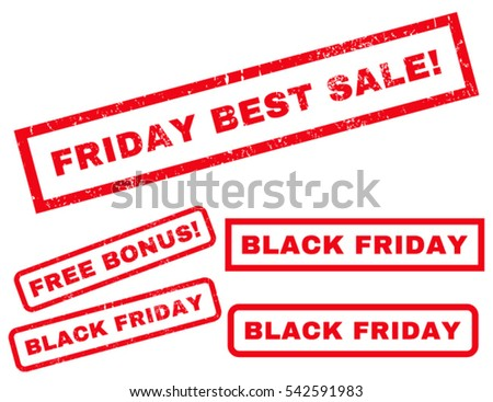 Friday Best Sale! rubber seal stamp watermark with bonus design elements for Black Friday offers. Vector red stickers. Tag inside rectangular shape with grunge design and scratched texture.