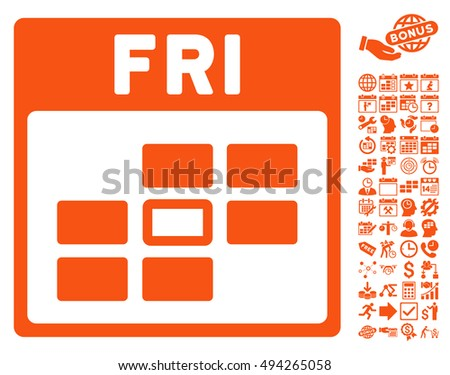 Friday Calendar Page icon with bonus calendar and time management clip art. Vector illustration style is flat iconic symbols, orange color, white background.