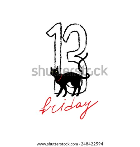 Friday 13 grunge illustration with numerals and black cat. Vector superstition mystic symbol. - stock vector