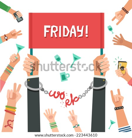 """Friday party after work. Businessman breaking the chain made of the """"Work"""" word and holding the word """"Friday"""". Colorful vector illustration in flat style isolated on white - stock vector"""