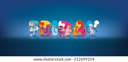 FRIDAY written with alphabet puzzle - vector illustration - stock vector