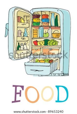 fridge - cartoon - stock vector