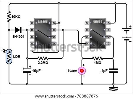 fridge door alarm circuit diagram stock vector 2018 788887876 rh shutterstock com GE Refrigerator Schematic Diagram Whirlpool Refrigerator Schematic Diagram