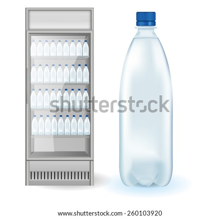 Fridge Drink with bottles of water  - Vector Illustration isolated on white background. - stock vector