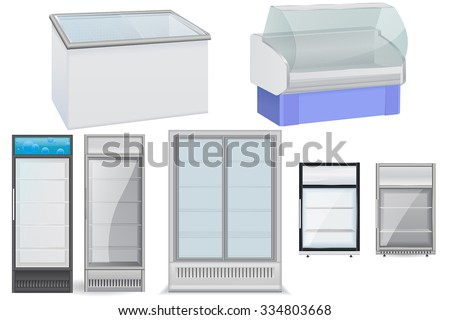 Fridge Drink with glass door. Mini  display cooler. Freezer and refrigerator. Vector isolated on white background. - stock vector