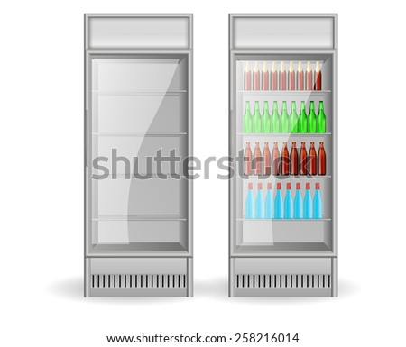 Fridge Drink with water and beer bottles on a white background - stock vector