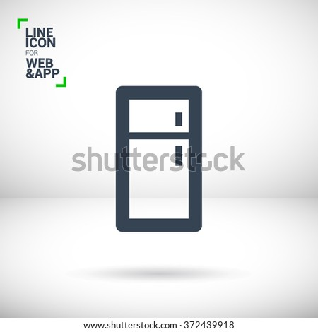 Fridge isolated minimal single flat linear icon for application and web. Kitchen appliances line vector icon for websites and mobile minimalistic flat design.