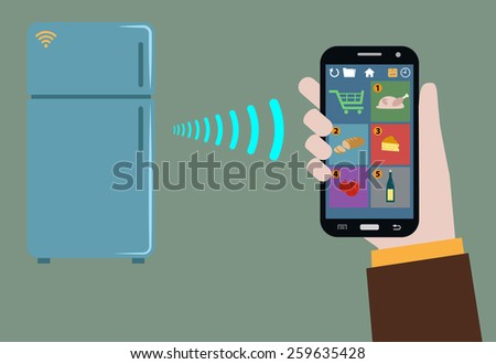 fridge tracking items inside and warn wireless- what to buy  - stock vector