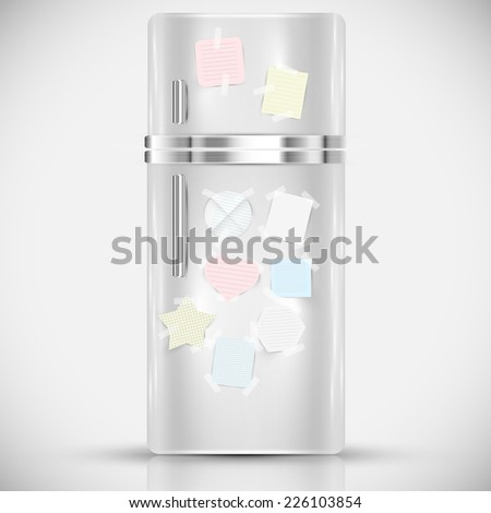 Fridge with paper labels on it, vector - stock vector