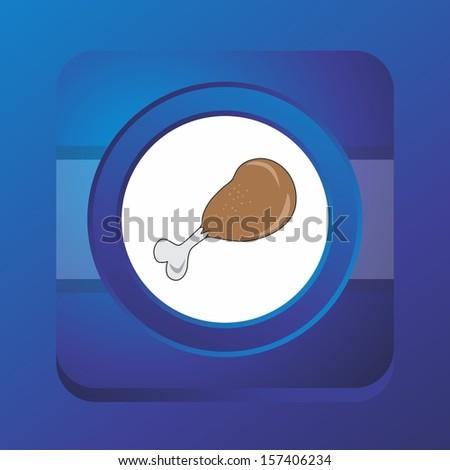 fried chicken blue button art - stock vector