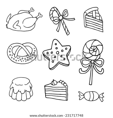 fried chicken candy stick a piece of cake pretzel cookies star lollipop with bow cake candy cupcakes vector black and white for every application - stock vector