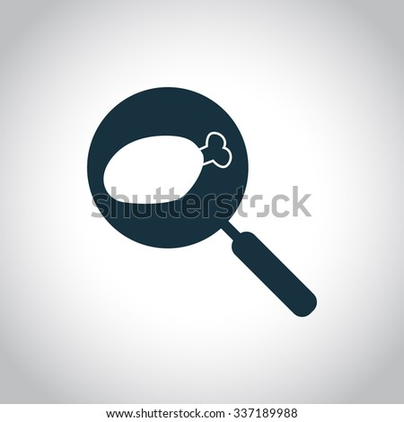 Fried chicken leg on the pan. Single flat icon on a white background  - stock vector