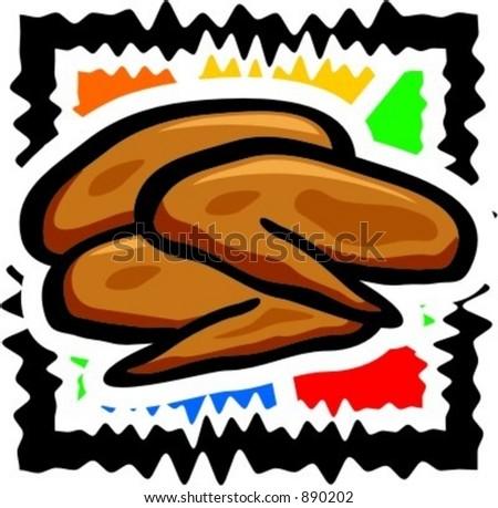 Fried chicken winglets. Vector illustration. - stock vector