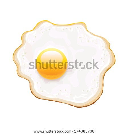 Fried egg isolated on white photo-realistic vector illustration