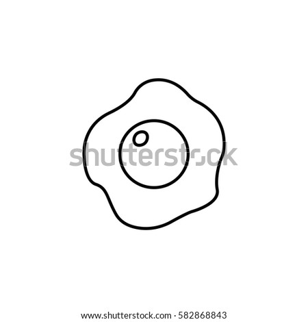 Fried Egg Line Icon Food Drink Elements Omelet Sign A Linear Pattern