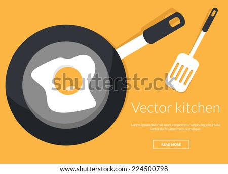 Fried egg on pan in kitchen conceptual vector illustration - stock vector