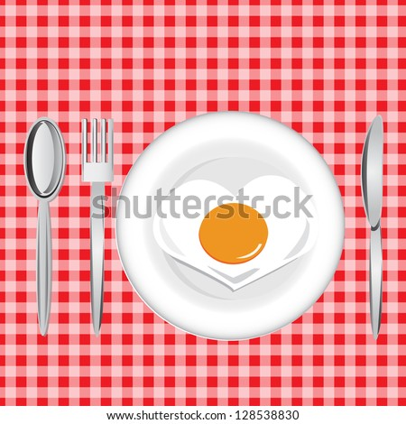 Fried egg with spoon, fork, knife on red table sheet - stock vector