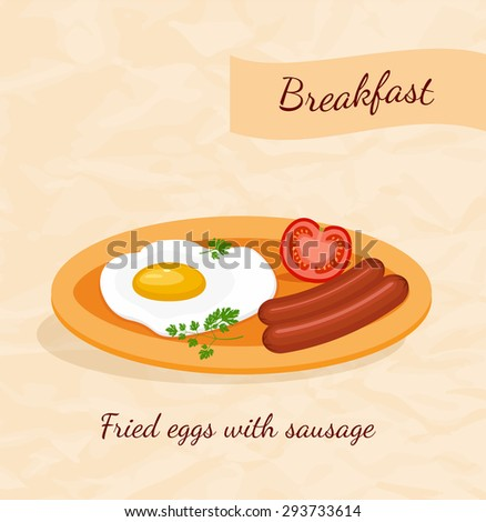 Fried eggs and sausage. Breakfast cartoon food icon vector illustration - stock vector